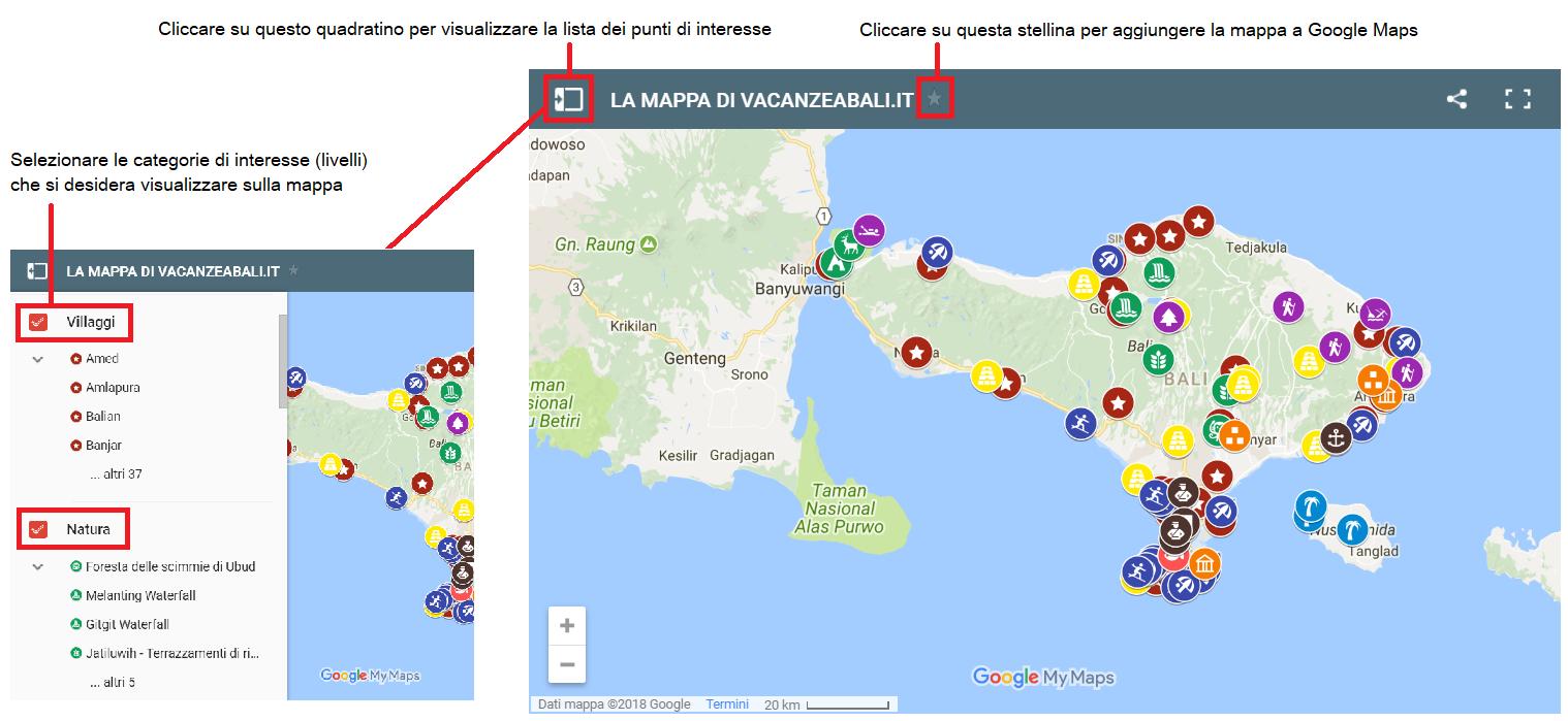 come funziona la mappa di Bali