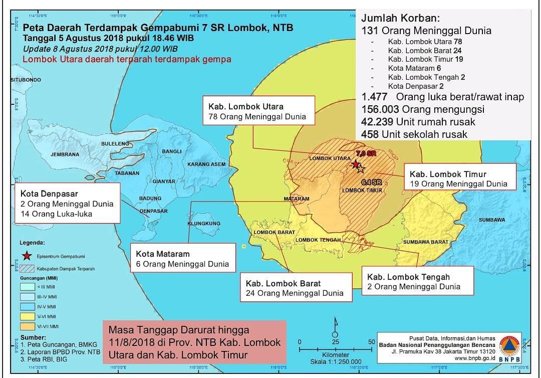 aggiornamento terremoto lombok 8 agosto